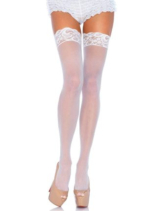 Sheer Stay-ups white - Back - Leg Avenue By Valerie