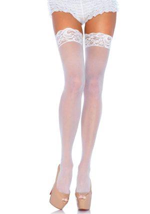 Sheer Stay-ups white - Back - Leg Avenue By Valerie