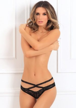 Oh My Lace Crotchless Brief black - Front - Rene Rofé By Valerie