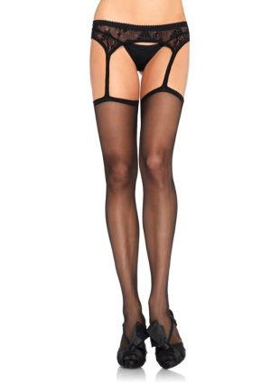 Sheer Garterbelt Stockings black - Back - Leg Avenue By Valerie