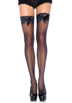 Sheer Stay-ups med Lace Top black - Back - Leg Avenue By Valerie