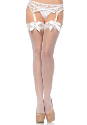 Sheer Stay-ups m. Lace Top white - Back - Leg Avenue By Valerie