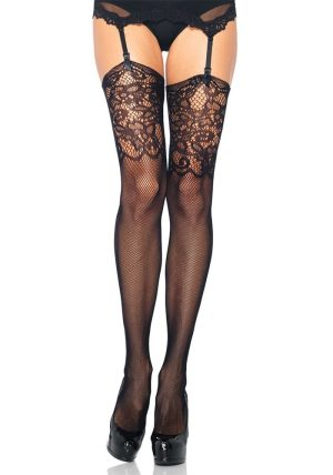 Fishnet Stockings m. Lace Top black - Back - Leg Avenue By Valerie