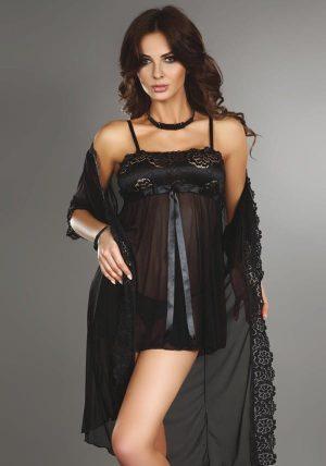 Benigna Morgenkåpe black - Front - Livia Corsetti - Nightwear By Valerie