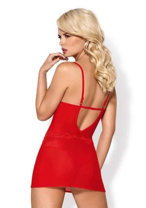 829 Strappy Chemise rod - Back - Obsessive - Nightwear By Valerie