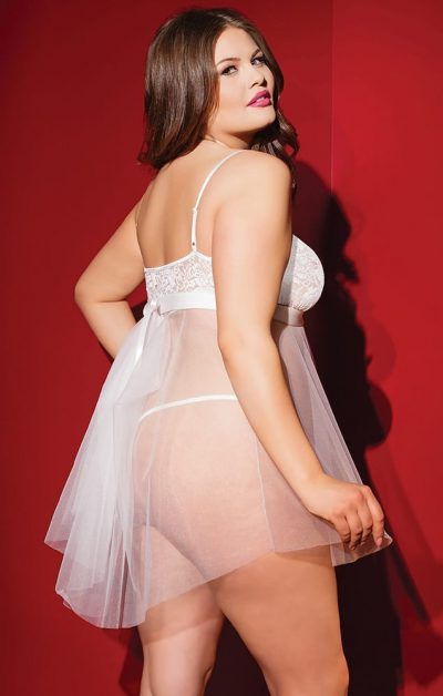 Kissable Babydoll white - Back - Coquette - Nightwear By Valerie