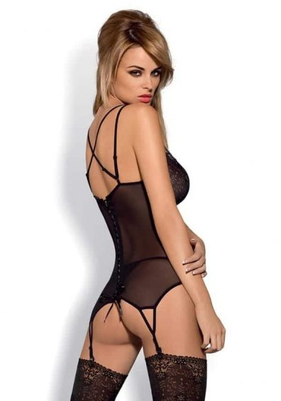 Intensa Korsett & String sort – Back – Obsessive – Lingerie By Valerie