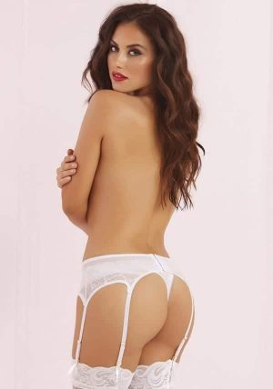 Six Strap Lace & Mesh Hofteholder white - Back - Seven Til Midnight - Lingerie By Valerie