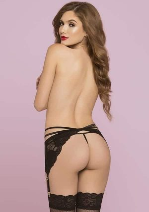 Two Strap Floral Galloon Lace Hofteholder black - Back - Seven Til Midnight - Lingerie By Valerie