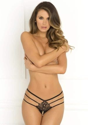 Crotchless Wanted & Wild Panty black - Front - Rene Rofé By Valerie