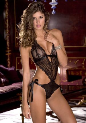 Lace Front Tie Back Teddy black - Front - Rene Rofé - Lingerie By Valerie