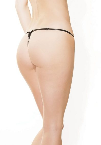 Leopard Stretch Lace G-streng sort – Back – Coquette By Valerie