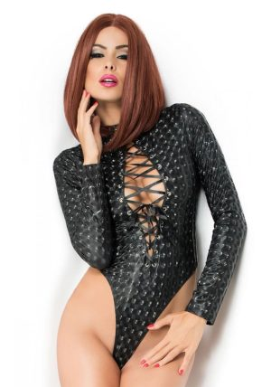 Melinda Longsleeve Body black - Front - Chili Rose - Lingerie By Valerie