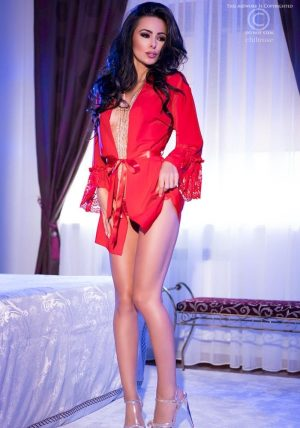 Red Madonna Neglisjee red - Back - Chili Rose - Nightwear By Valerie