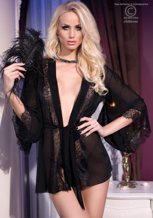 Missy Mesh Morgenkåpe m. String black - Back - Chili Rose - Nightwear By Valerie