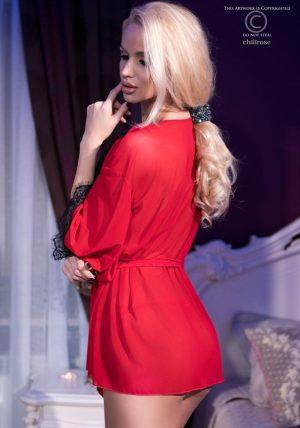 Missy Mesh Morgenkåpe m. String rod - Back - Chili Rose - Nightwear By Valerie