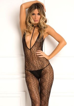 Plunge Harness Bodystocking black - Front - Rene Rofé By Valerie