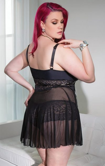 Diva Babydoll sort - Back - Coquette - Nightwear By Valerie