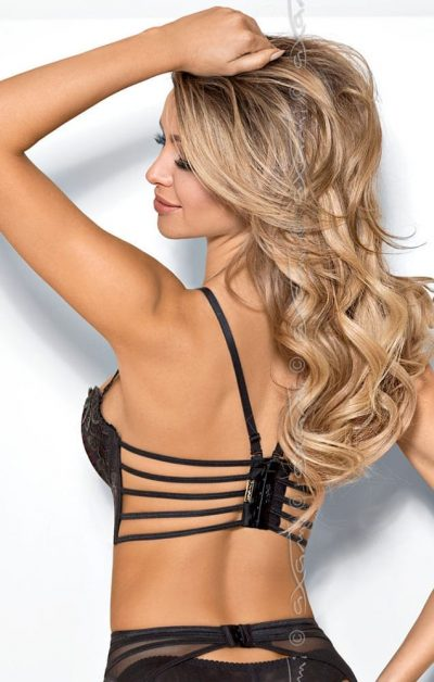 Chocolat Bar Push-up Semi-korsett sort - Back - Axami By Valerie