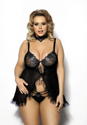 Fripa Chemise black - Front - Anais Apparel - Nightwear By Valerie