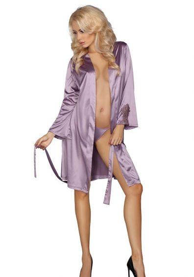Maverick Morgenkåpe lilla – Back – Livia Corsetti – Nightwear By Valerie