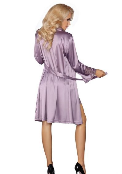 Maverick Morgenkåpe lilla – Front – Livia Corsetti – Nightwear By Valerie