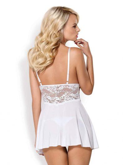 BAB Babydoll & String hvit – Back – Obsessive – Nightwear By Valerie