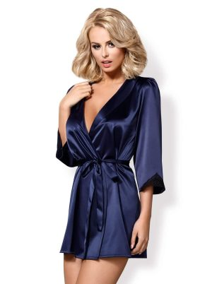 Satinia Morgenkåpe blue - Front - Obsessive - Nightwear By Valerie