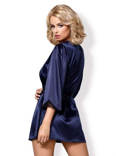Satinia Morgenkåpe blue – Back – Obsessive – Nightwear By Valerie