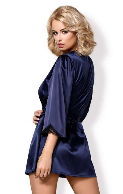 Satinia Morgenkåpe blue - Back - Obsessive - Nightwear By Valerie