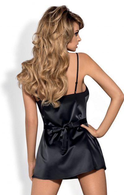 Satinia Morgenkåpe black - Back - Obsessive - Nightwear By Valerie