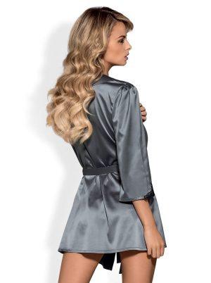 Satinia Morgenkåpe gray - Back - Obsessive - Nightwear By Valerie