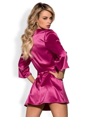 Satinia Morgenkåpe pink - Back - Obsessive - Nightwear By Valerie