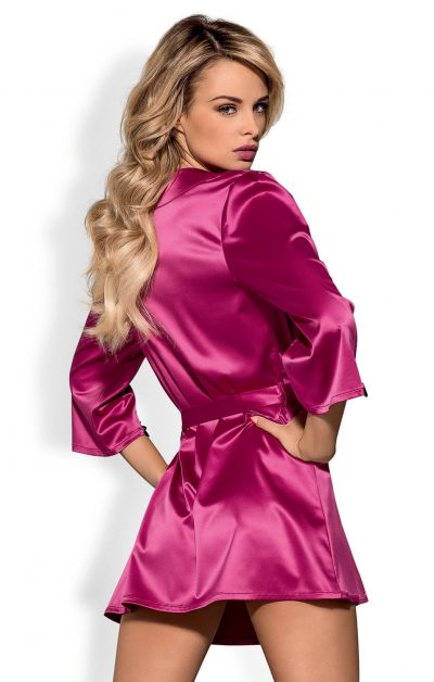 Satinia Morgenkåpe rosa - Back - Obsessive - Nightwear By Valerie