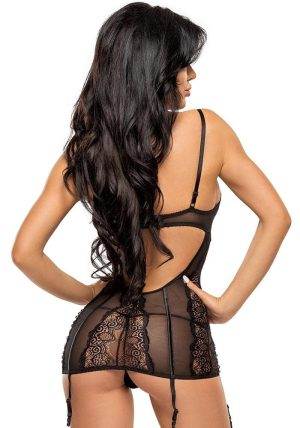 Ravenna Chemise sort - Back - Beauty Night - Nightwear By Valerie