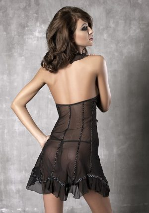 Seduce Me Chemise sort - Back - Anais Apparel - Nightwear By Valerie