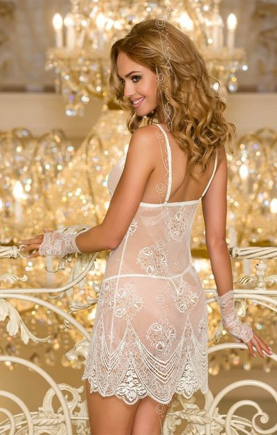 Carriage Babydoll white - Back - Axami - Nightwear By Valerie