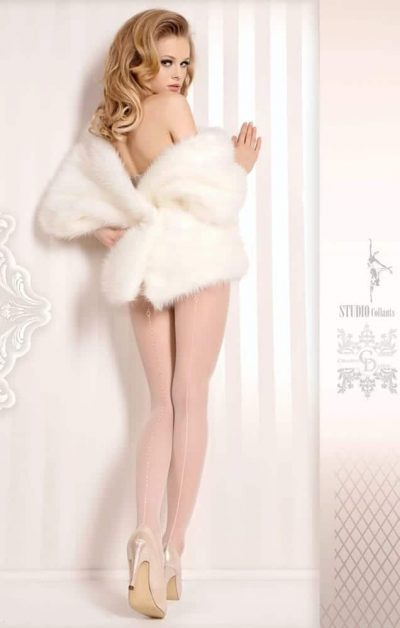 Wedding Day Stay-ups 381 hvit - Back - Ballerina Hosiery By Valerie