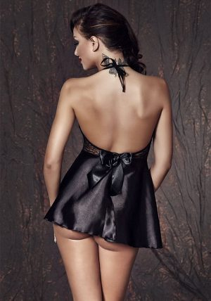 Liu Chemise sort - Back - Anais Apparel - Nightwear By Valerie