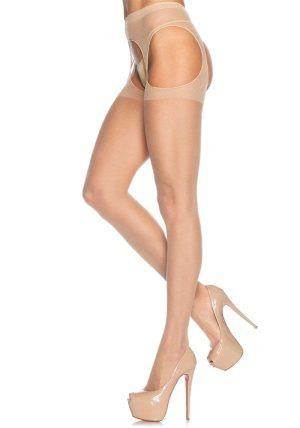 Sheer Suspender Strømpebukse beige-nude - Back - Leg Avenue By Valerie