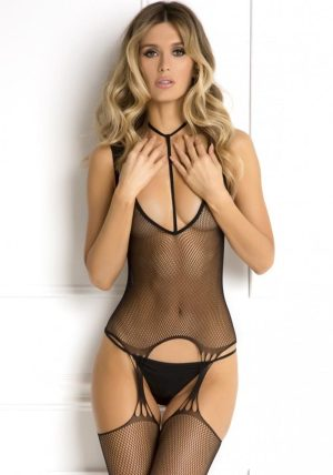 Holy Plunge Harness Garter Dress black - Front - Rene Rofé By Valerie
