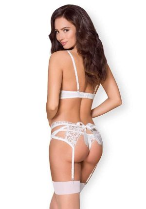 871 Seg 3 Piece Set hvit - Back - Obsessive - Lingerie By Valerie