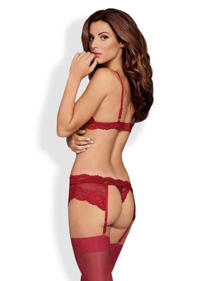 810 SEG 3 Piece Set red – Back – Obsessive – Lingerie By Valerie