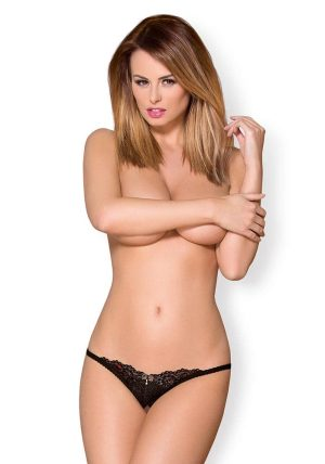 852 THC Crotchless Thong black - Front - Obsessive By Valerie