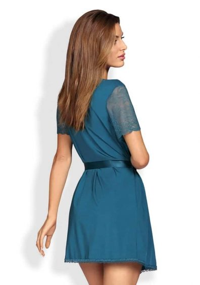 Miamor Robe & Thong blue – Back – Obsessive – Nightwear By Valerie