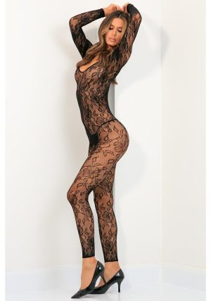 Body Up Crotchless Bodystocking black - Back -  By Valerie