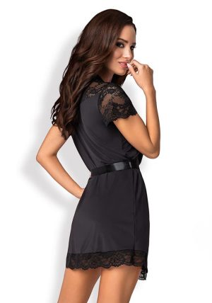 810-Pei-Peignoir Black - Back - Obsessive - Nightwear By Valerie