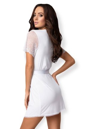 Miamor Robe & Thong white - Back - Obsessive - Nightwear By Valerie
