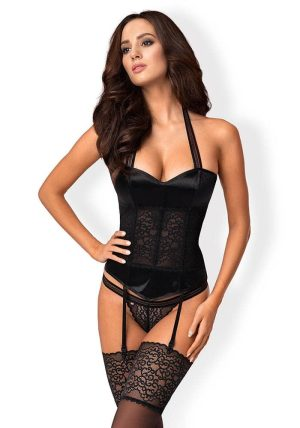 Ailay Corset & Thong Black - Front - Obsessive - 3 Piece Lingerie Set By Valerie
