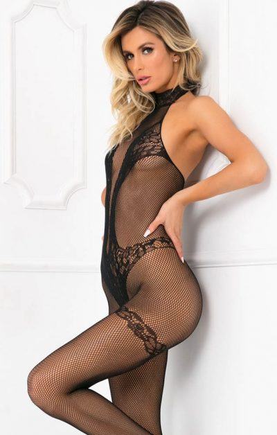 Choker Crochless Bodystocking Black - Front - René Rofé - Bodystocking By Valerie